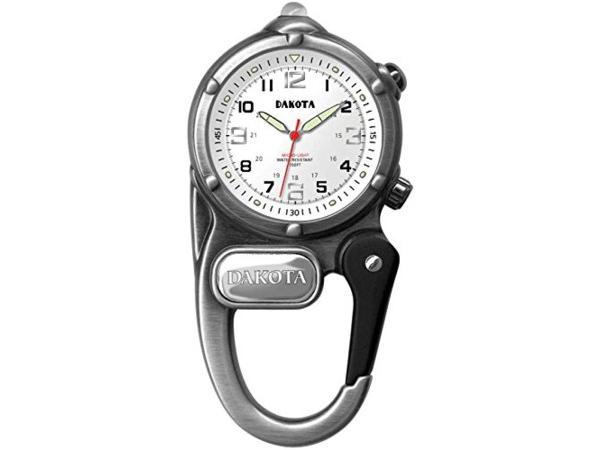 Dakota ダコタ カラビナウォッチ ミニ・クリップ・マイクロライト時計 (アンティーク・シルバー) 3気圧防水・LEDライト