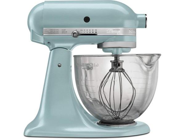 【2-5年保証・日本語訳・変換プラグ付】 KitchenAid キッチンエイド 5QTガラス製ボウル・スタンドミキサー (アジュール・ブルー) 【アルチザンシリーズ】 おすすめです♪