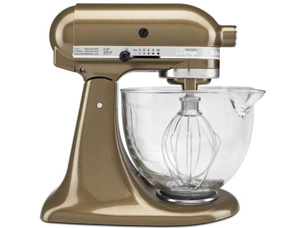 【2-5年保証・日本語訳・変換プラグ付】 KitchenAid キッチンエイド 5QTガラス製ボウル・スタンドミキサー (タフィー) 【アルチザンシリーズ】 おすすめです♪