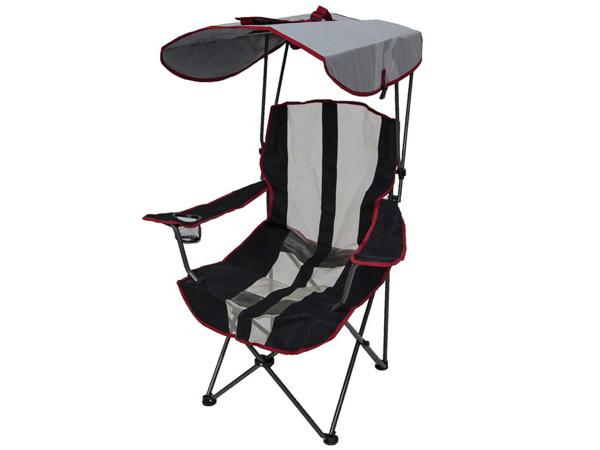 Kelsyus ケルシウス オリジナル・キャノピー・チェア (黒/赤) 80373 アウトドア日よけ付き折りたたみ椅子