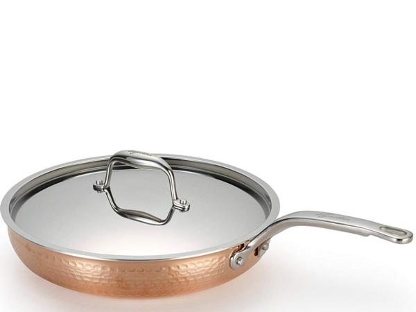 Lagostina ラゴスティーナ Martellata 3層Hammered Copper 30cmフライパン・フタ付き (銅)