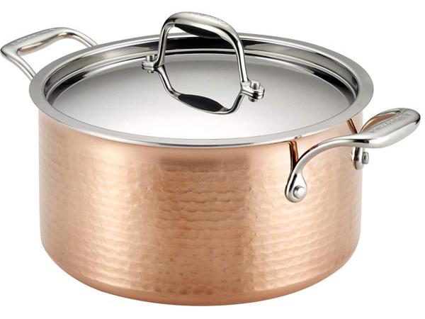 Lagostina ラゴスティーナ Martellata 3層Hammered Copper 2.8リットル両手鍋 キャセロール (銅) 3QT