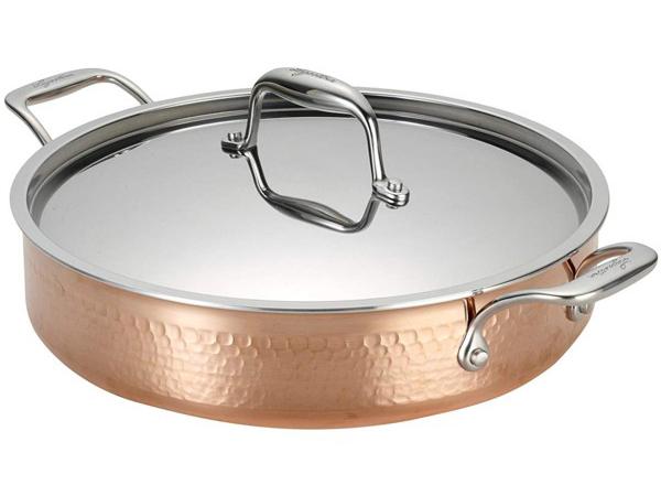 Lagostina ラゴスティーナ Martellata 3層Hammered Copper 4.7リットル両手鍋 キャセロール (銅) 5QT
