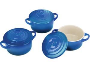 Le Creuset ル・クルーゼ ミニ・ココット3個セット (マルセイユブルー) 陶器製ラムカン プチ・キャセロール