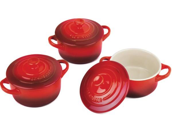 Le Creuset ル・クルーゼ ミニ・ココット3個セット (チェリーレッド) 陶器製ラムカン プチ・キャセロール