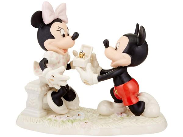 Lenox レノックス ディズニー・フィギュア ミッキーのプロポーズ Mickey & Minnie Proposal 24Kアクセント白磁フィギュア