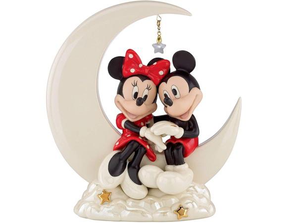 Lenox レノックス ディズニー・フィギュア お月様の上のミッキーとミニー Over the Moon for Minnie 24Kアクセント白磁フィギュア