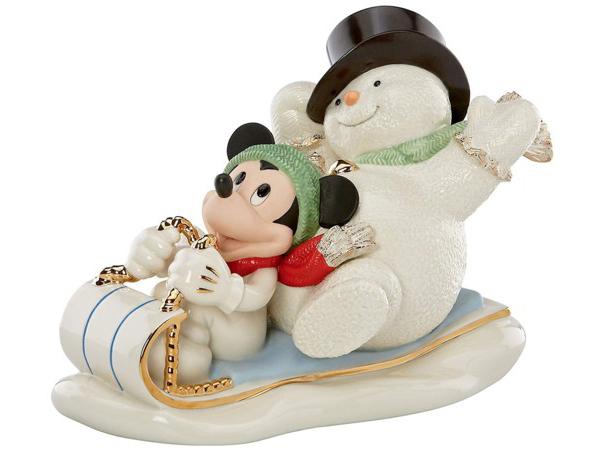 24Kアクセント白磁フィギュア 雪の日のミッキー Lenox レノックス Snowy Day with ディズニー・フィギュア Mickey