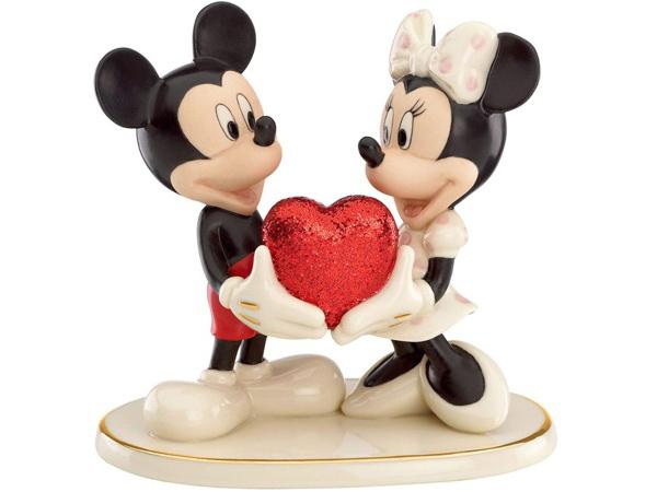 Lenox レノックス ディズニー・フィギュア ミッキーとミニー Sweethearts Forever Mickey & Minnie 24Kアクセント白磁フィギュア