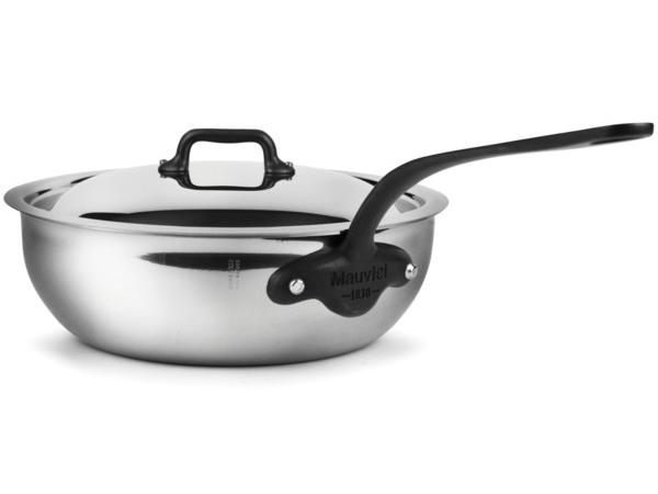 Mauviel ムヴィエール 5 Ply 蓋付きソーシエパン 3QT (約2.8リットル) M'cook Proシリーズ ステンレス・スチール (鉄色仕上ハンドル)