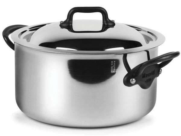 Mauviel ムヴィエール 5 Ply 蓋付き両手鍋キャセロール 3.6QT (約3.4リットル) M'cook Proシリーズ ステンレス・スチール (鉄色仕上ハンドル)