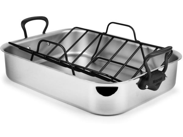 Mauviel ムヴィエール 5 Ply 40×30cmロースター M'cook Proシリーズ ステンレス・スチール (鉄色仕上ハンドル)