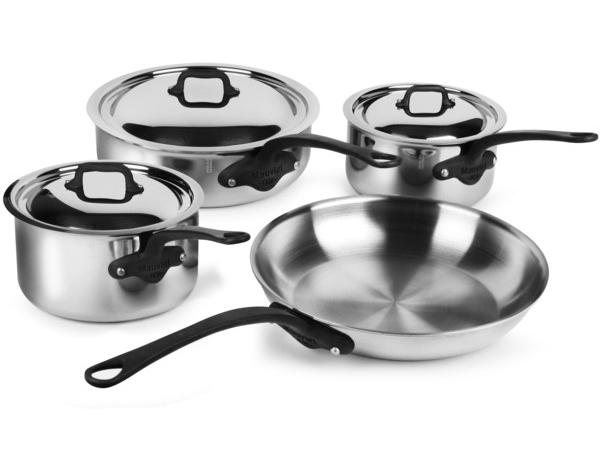 Mauviel ムヴィエール 5 Ply ステンレス・クックウェアー4点セット M'cook Proシリーズ ステンレス・スチール (鉄色仕上ハンドル)