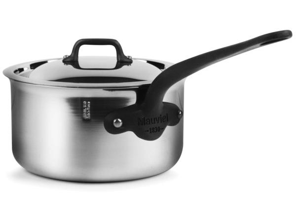 Mauviel ムヴィエール 5 Ply 蓋付きソースパン 1.9QT (約1.8リットル) M'cook Proシリーズ ステンレス・スチール (鉄色仕上ハンドル)