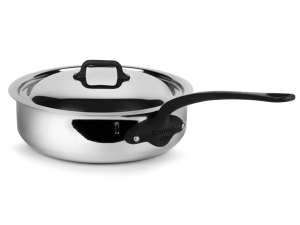 Mauviel ムヴィエール 5 Ply 蓋付きソテーパン 3.4QT (約3.2リットル) M'cook Proシリーズ ステンレス・スチール (鉄色仕上ハンドル)