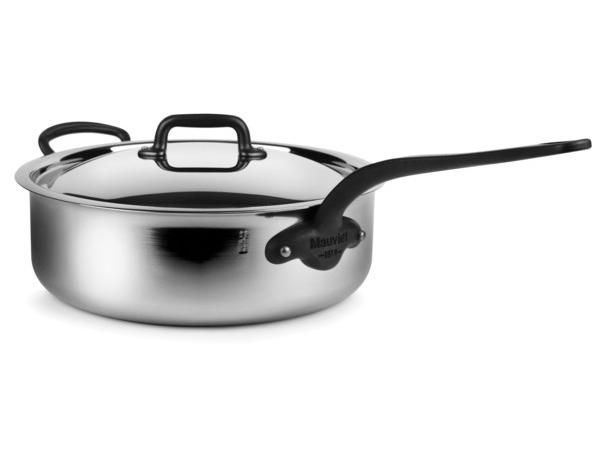 Mauviel ムヴィエール 5 Ply 蓋付きソテーパン 5.8QT (約5.5リットル) M'cook Proシリーズ ステンレス・スチール (鉄色仕上ハンドル)