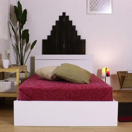 パネル型ラインデザインベッド284(マットレス付) ダブル ホワイト