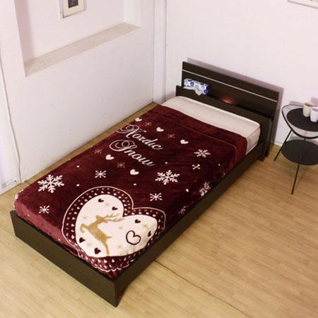 棚・照明付ラインデザインベッド 285(マットレス付) シングル ダークブラウン