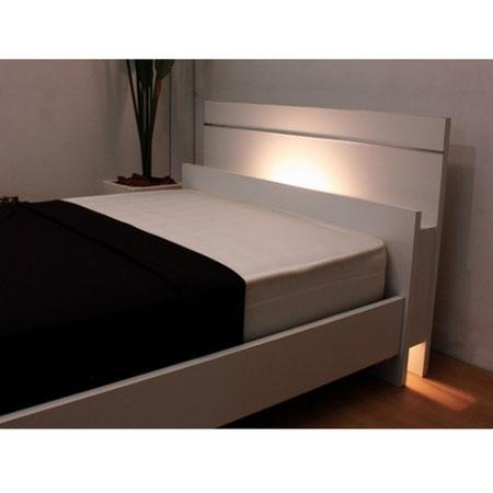 棚・照明付ラインデザインベッド 285(マットレス付) セミダブル ホワイト