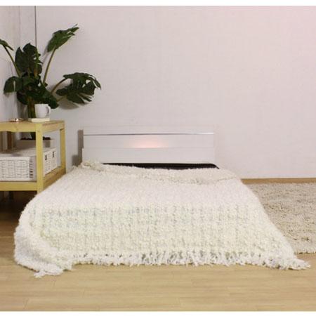 棚・照明付ラインデザインフロアベッド 287(マットレス付) シングル ホワイト