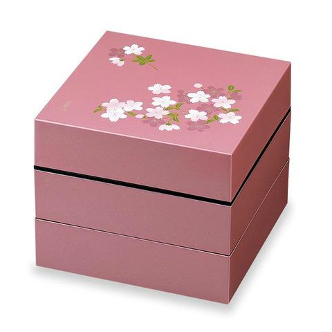 お重・お弁当箱 お弁当箱 宇野千代 オードブル重 3段 あけぼの桜 ピンク:暮らし快適 ハートマークショップ
