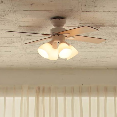 【plusmore】 LED対応 4灯 シーリングファン Windouble ホワイト リモコン付き 簡単取り付け BIG-101-WH