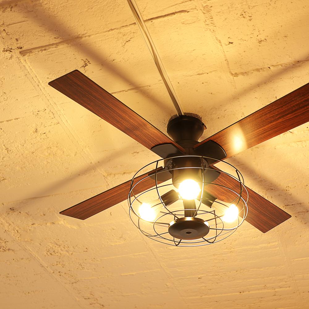 【3年メーカー保証】 【JAVALO ELF】 VINTAGE Collection LED対応 4灯 シーリングファン リモコン・エジソン電球付き 簡単取り付け JE-CF002V