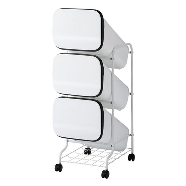 【Smooth/スムース】 プッシュオープンタイプ スタンド型 分別ダストボックス 3P ホワイト 60L(20L×3段)