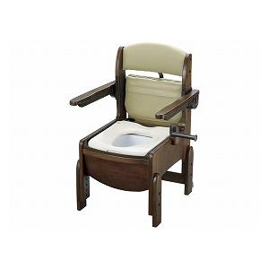 リッチェル 木製トイレ きらくコンパクト 肘掛跳上 暖房便座 18570