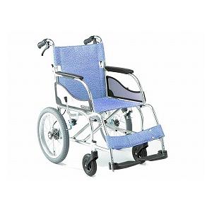 松永製作所 超軽量エアリアル介助型車いす(ブレーキ付)MW-SL21B【車椅子 車いす 介助用 軽量 折りたたみ アルミ】