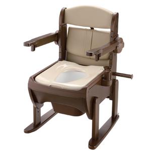 リッチェル 木製きらく片付け簡単トイレ 肘掛跳ね上げ やわらか便座 【ポータブル トイレ 排泄 消臭 簡易 介護 福祉 跳ね上げ】