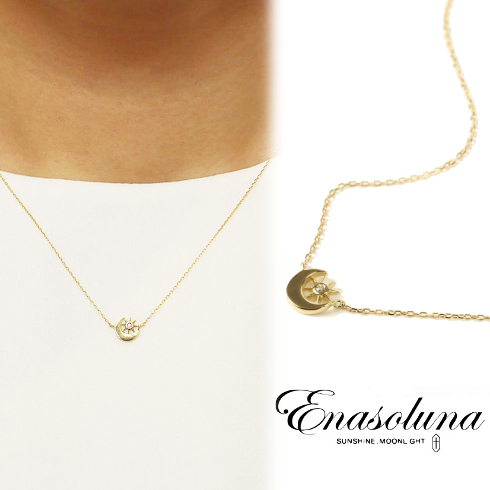 あす楽 期間限定8%OFF! Enasoluna(エナソルーナ)Soluna necklace【NK-1081】ネックレス クリスマス ダイヤモンド ダイヤ ダイア イエローゴールド K18YG 太陽 月 母の日 ギフト プレゼント ラッピング クリスマス