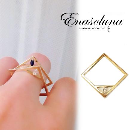 あす楽  期間限定8%OFF! Enasoluna エナソルーナ Stone square ring RG-1110 リングレディース 母の日 ギフト プレゼント ラッピング クリスマス ホワイトデー