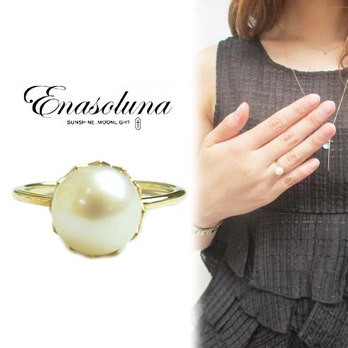期間限定8%OFF! Enasoluna エナソルーナ Innocent pearl ringRG-813 K10 10金 イエローゴールド パール 真珠 リング 指輪 ゴールド 8号 リングレディース 母の日 ギフト プレゼント ラッピング クリスマス ホワイトデー