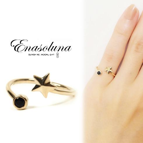 期間限定8%OFF! Enasoluna エナソルーナ Twinkle Ring Star EN-RG-885 Star K10 10金 ホワイトトパーズ イエローゴールド ピンキーリング ファランジリング 関節リング 3号 指輪 星 ほし クリスマス