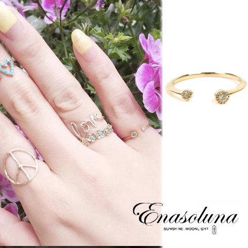 あす楽  期間限定8%OFF! Enasoluna エナソルーナ  Twin dia ring RG-962 K10 10金 Diamond 0.04ct ダイアモンド ダイヤモンド ピンキーリング ファランジリング 関節リング リング 指輪 イエローゴールド ゴールド 3号 リング クリスマス