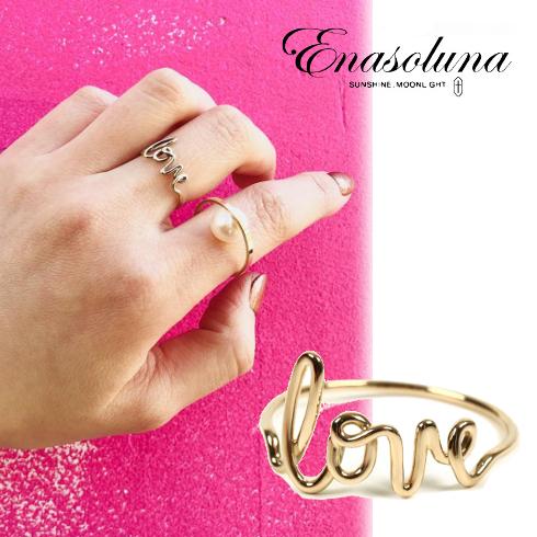 あす楽 期間限定8%OFF! Enasoluna(エナソルーナ)Love ring 【RG-979】 リング 指輪 イエローゴールド 11号 ゴールド 母の日 ギフト プレゼント ラッピング クリスマス ホワイトデー