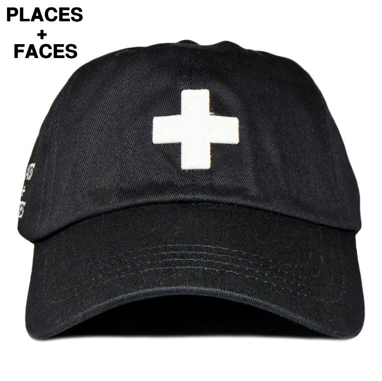 """黒 【PLACES+FACES """"+"""" LOGO CAP / BK プレイシーズフェイシーズ + ロゴキャップ】"""