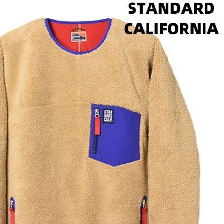 L【STANDARD CALIFORNIA SD CLASSIC PILE PULLOVER DLS L+2 BEIGE/BLUE スタンダードカリフォルニア クラッシック パイル プルオーバー】
