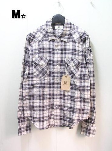 M 新品【M☆ [エム] long sleeve western check shirts チェックシャツ】10C-MSH001