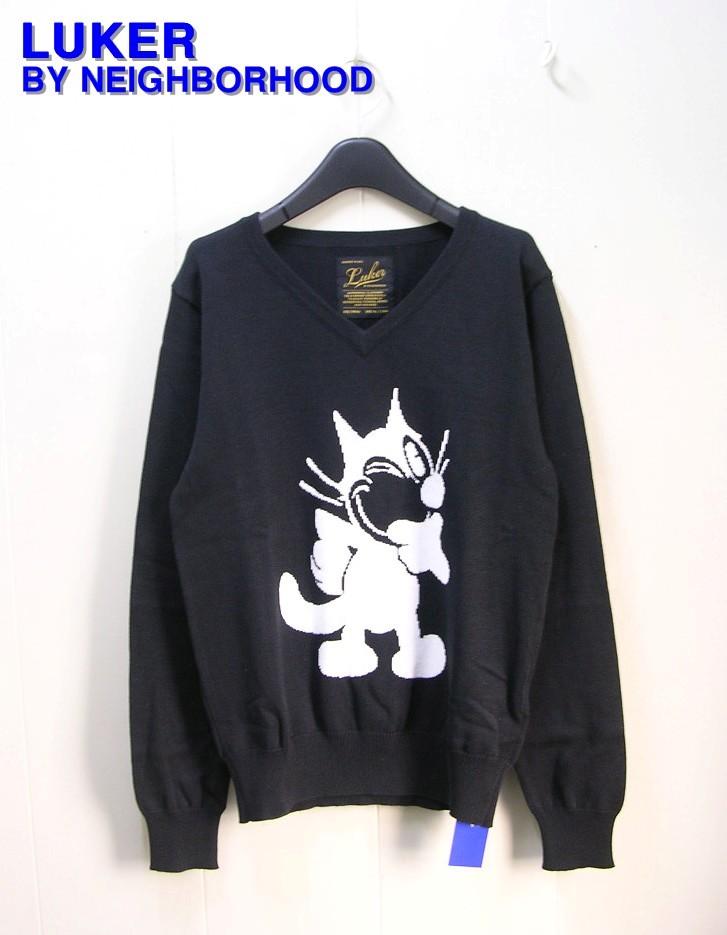 S 黒 BLACK【LUKER NEIGHBORHOOD [ルーカー ネイバーフッド] FELIX / C-V.LS フェリックス ニット セーター】151FUFEL-KNM01