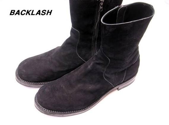 26cm BLACK【BACKLASH バックラッシュ カーフタンニンスエードレザー サイドジップブーツ】600-01【中古】