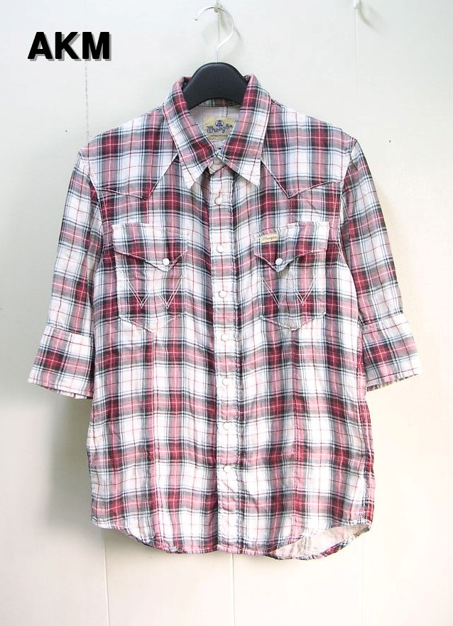 M 【AKM [エーケイエム] x Wrangler [ラングラー] 5/S ガーゼウエスタンチェックシャツ】