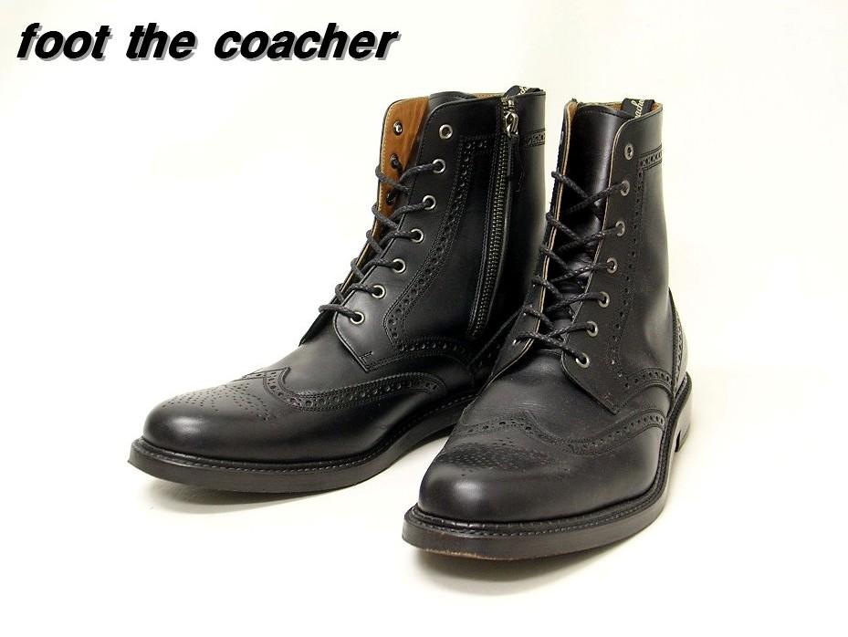 9 1/2 黒 Black【foot the coacher [フットザコーチャー] ウイングチップ サイドZip レザーブーツ】
