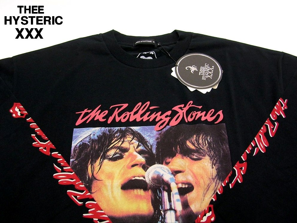 L 黒【THEE HYSTERIC XXX RS/STONES 70'S PT リブ付T-SHIRTS HYSTERIC GLAMOUR ヒステリックグラマー ローリングストーンズ ロンTシャツ】No. 06173CL02496