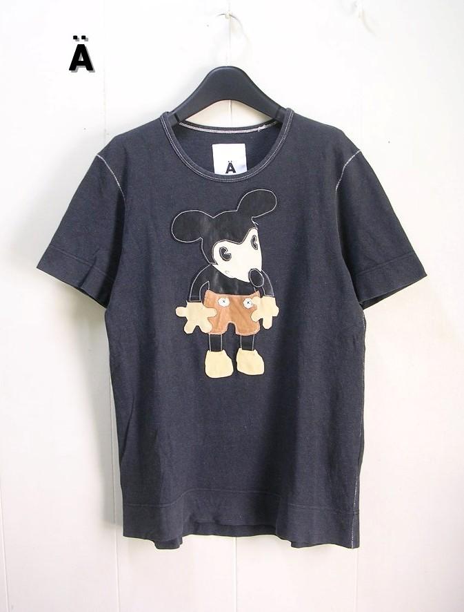 M 【Aエィス x ミッキー Tシャツ 馬革ミッキーマウス】【中古】