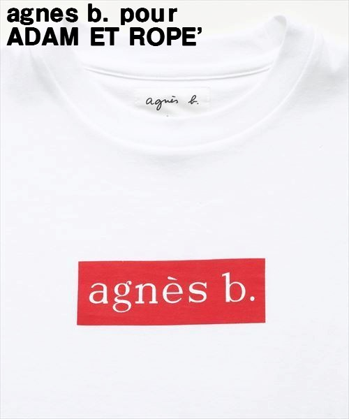 S 白/赤 White/Red【agnes b. pour ADAM ET ROPE' BOX LOGO T-shirts アニエスベー アダムエロペ ボックスロゴTシャツ 正規品】