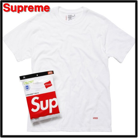 【新品】 (Tシャツ3枚セット) SUPREME x Hanes Tagless Tee 3-pack WHITE 200-005622-030x