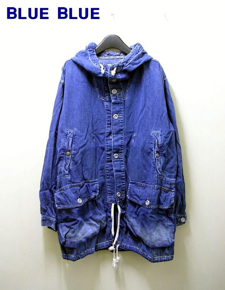 2(M)【BLUE BLUE フードデニムジャケット ブルゾン コート パーカー ブルー ブルー】【中古】
