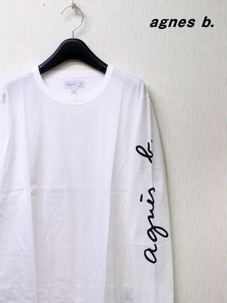3 White【agnes b. FEMME SLEEVE LOGO TEE アニエスベー 袖ロゴ Tシャツ カットソー 国内正規品】
